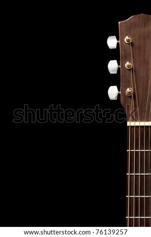 The tuning end of a guitar isolated on a white background.