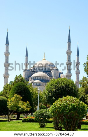 The Turkish famous national Sultan Ahmed Mosque in Istanbul, Turkey