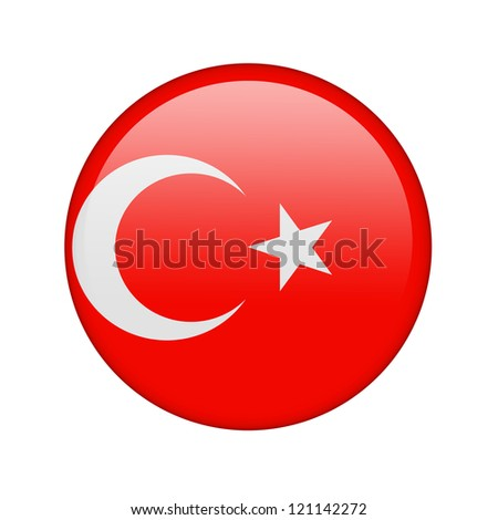 The Turkish flag in the form of a glossy icon.