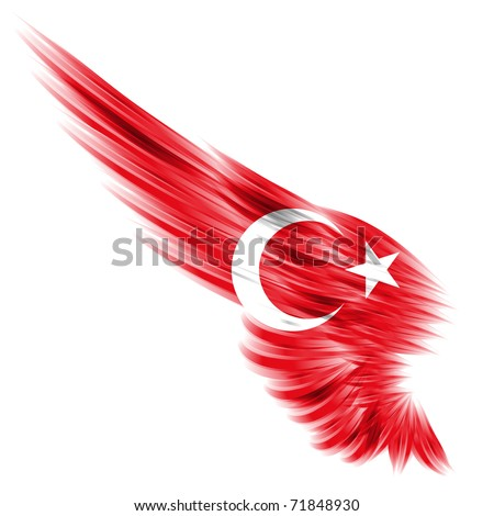 The Turkish flag on Abstract wing and white background