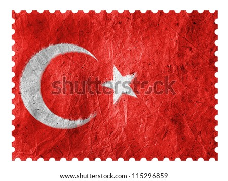 The Turkish flag painted on  paper postage  stamp