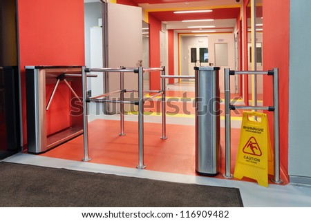 The turnstile in a modern office building