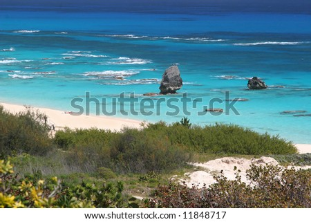 The turquoise ocean and pink beaches of Bermuda.