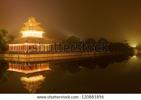 the turret of beijing forbidden city at dusk
