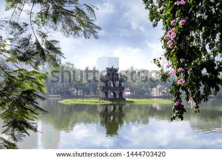 The Turtle Tower (Thap Rua) on Hoan Kiem Lake (Sword Lake) Hanoi, Vietnam Foto stock ©