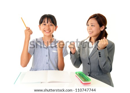 The tutor and the girl are happy to solve the problem
