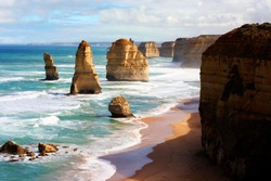 The Twelve Apostles on the Great Ocean Road in Victoria, Australia.