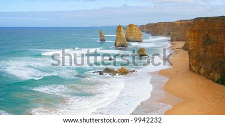 The Twelve Apostles on the Great Ocean Road in Victoria, Australia (high resolution panorama) - stock photo