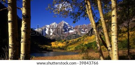 The twin mountains known as the Maroon Bells in Colorado's White River National Forest, near Aspen.