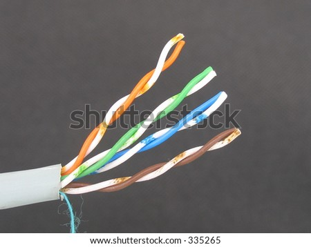 The twisted pair wires of a UTP computer network cable