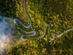 the twisted road through beautiful Perlis Jungle named Wang Kelian in Malaysia during sunrise.