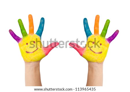 The two colorful hands with smile painted with different colors of child as logo. Isolated on white background with clipping path