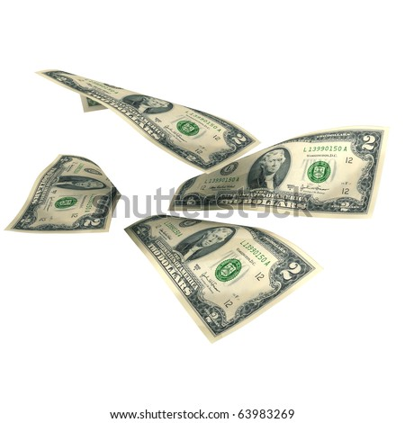 The two dollar banknotes isolated on a white background with mask