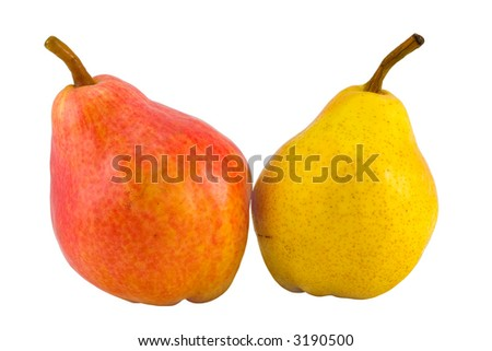 the two full pears isolated with clipping path