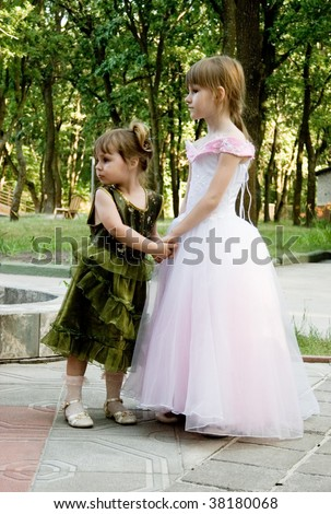 the two little girls handies at outdoors