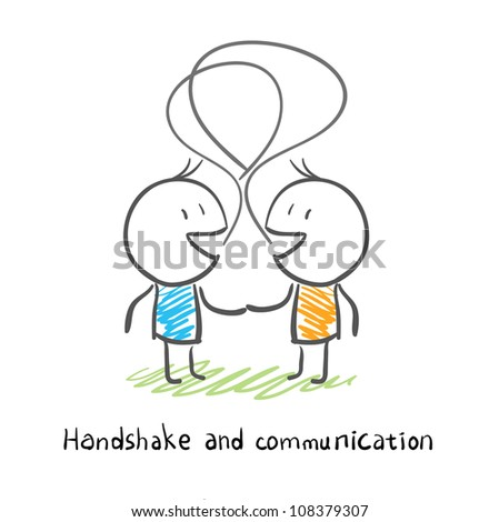 The two men shake hands, and socialize. Illustration.