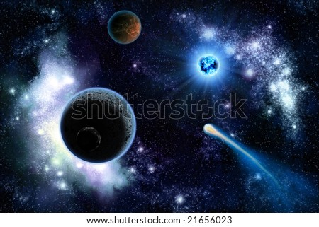 The two planets solar system deep in the galaxy