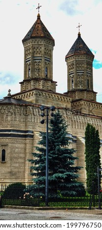 The two towers of the Three Hierarchs Church in Iasi City. Imagine de stoc ©