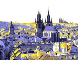 The Tyn Church and the Prague Castle on the horizon. Prague through the eyes of butterflies. Colored pictures of the historic, romantic, beautiful and friendly town Prague, capital of Czech Republic.
