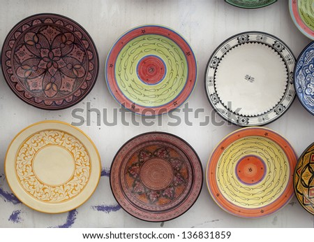 The typical colored pottery on the souk in Marrakech