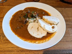 The typical czech dish-goulash with knedliky
