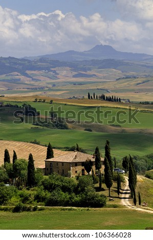 The typical landscape of the tuscan region in italy