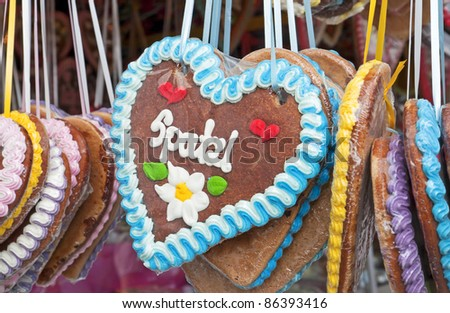 "The typical traditional chocolate hearts at the folk festival ""Oktoberfest"" in Munich in Bavaria"