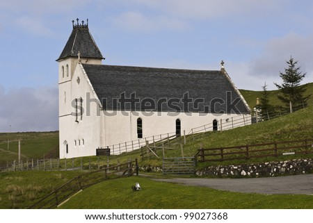 "The Uig Free church of Scotland situated on a hillside overlooking the port of Uig, Isle of Skye, Scotland. 57�° 35' 7.54"" N, 6�° 21' 23.43"" W - stock photo"