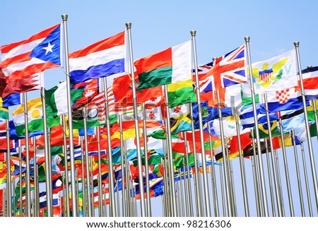 The uk France switzerland and national flags is flying around the world
