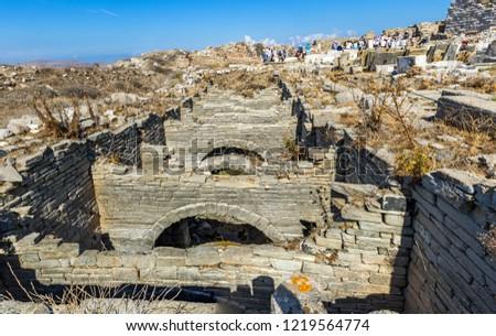 The underground aqueduct at the Greek island of Delos, bith place of ancient god Apollo. Aegean Sea, Mediterranean Sea.