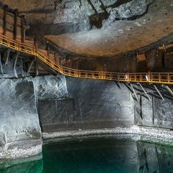 The underground Lake Wessel in the Wieliczka Salt Mine on DECEMBER 13, 2015
