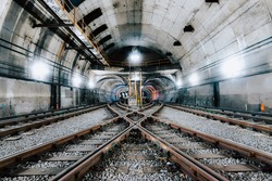The underground tunnel and the railway in New York City, United States