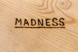 the underlined word madness handwritten with woodburner on flat plywood surface in flat lay directly above view