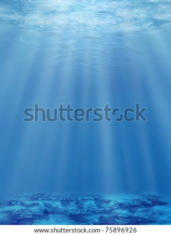 The underwater world. An illustration of sea depths with an effective bottom