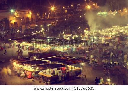 the UNESCO square Djemaa El-fna at marrakesh, Morocco