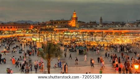 the UNESCO square Djemaa El-fna at marrakesh, Morocco