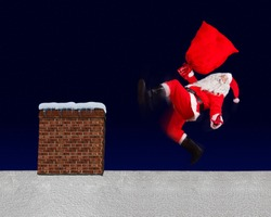 The unhappy Santa Claus slipped with bag on a snowy roof with the chimney. Santa Claus accident while distributing a gift. The Christmas disaster on a roof.