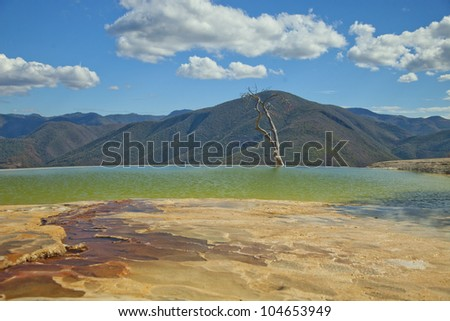 the unique and beautiful landscape of hierve el agua in oaxaca state, mexico - stock photo