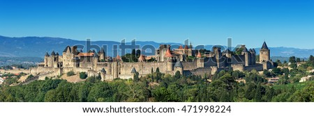 The unique medieval Carcassonne fortress( Aude, France), inscribed on the UNESCO list of World Heritage Sites. #471998224