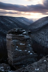 The unique rock column of Lindy Point overlooking the Blackwater Canyon of Blackwater Falls State Park in Davis, West Virginia.