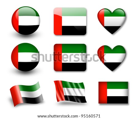 The United Arab Emirates flag - set of icons and flags. glossy and matte on a white background.