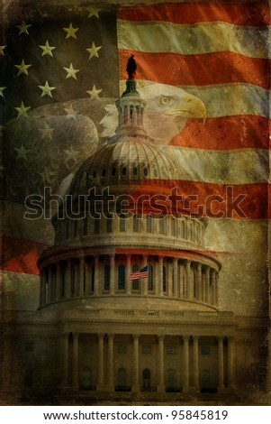 The United States Capitol, American Flag and Bald Eagle with aged, textured effect.