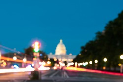 The United States Capitol, Blurred background in retro style, Washington DC Capitol Building
