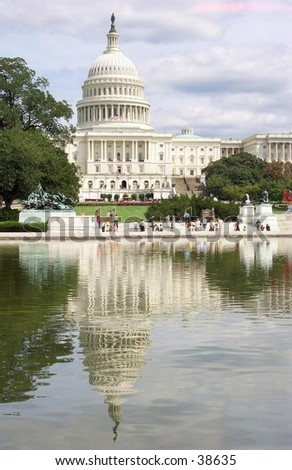 The United States Capitol Building and reflecting pool.