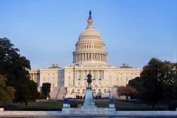 The United States Capitol Building before sunset, Washington DC, USA.