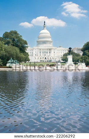 The United States Capitol in summer
