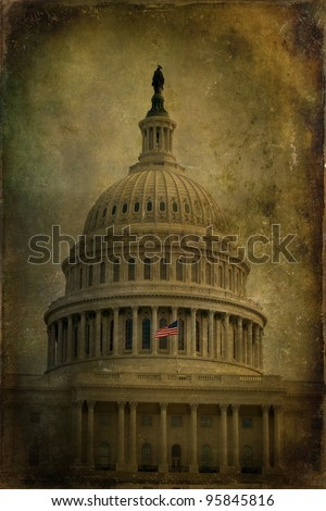 The United States Capitol with aged, textured effect.