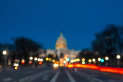 The United States Capitol with Blurred Background after dusk