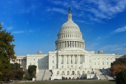 The United States pf America capitol building on a sunny day. Washington DC. USA.