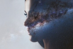 The universe inside us, the profile of a young woman and space, the effect of double exposure. scientific concept. The brain and creativity. Elements of this image furnished by NASA.